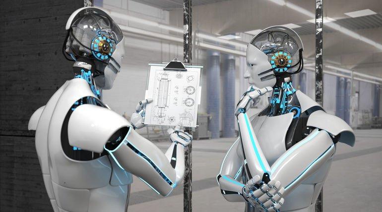 Zwei_weiße_Roboter_mit_einer_technischen_Zeichnung_auf_dem_Klemmbrett;_3D-Illustration