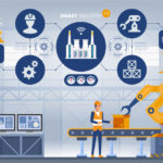 Industry_4.0_Smart_factory_concept._Workers,_robot_arms_and_assembly_line._Technology_vector_illustration