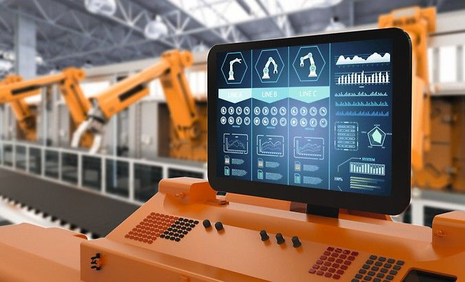 Automation_factory_concept_with_3d_rendering_control_panel_screen_with_robotic_arms