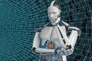 Thining_humanoid_robot_in_the_data_pipe._3d_illustration.