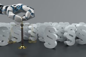Humanoid_robot_hand_with_small_beam_balance_and_white_paragraphs._3d_illustration.