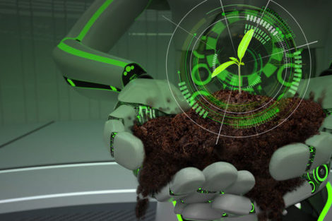 Hands_of_the_green_eco_robot_with_soil_and_seedling._3d_illustration.