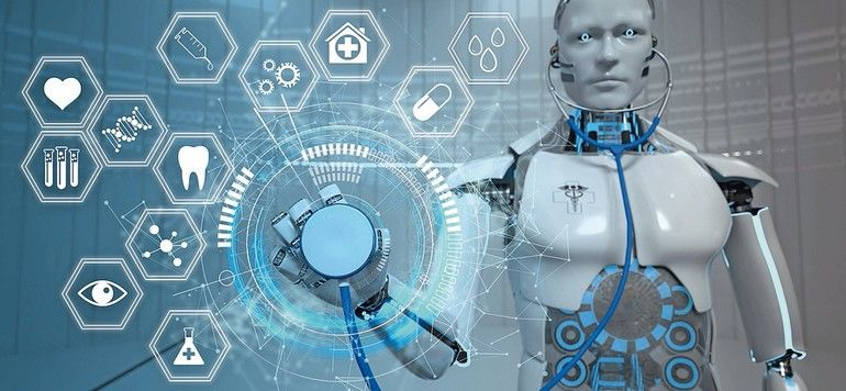 Humanoid_robot_with_a_stethoscope,_HUD_and_medicine_icons._3d_illustration.
