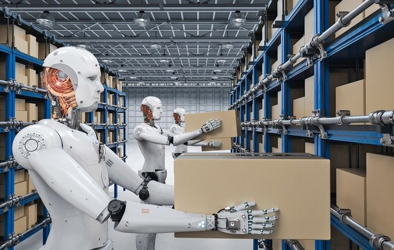 3d_rendering_humanoid_robots_carry_boxes_in_warehouse