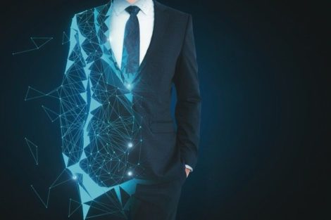 Abstract_unrecognizable_polygonal_businessman_on_dark_background_with_copy_space._Robotics_and_future_concept._3D_Rendering_