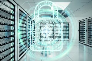 White_and_blue_firewall_activated_on_server_room_data_center_3D_rendering