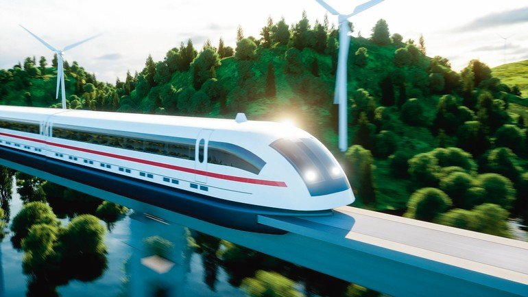 futuristic,_modern_Maglev_train_passing_on_mono_rail._Ecological_future_concept._Aerial_nature_view._3d_rendering