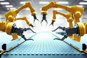 Roboter_Arme_am_leeren_Fließband