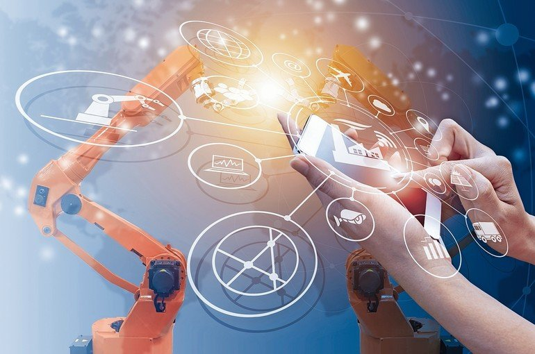 Industry_4.0_concept,_intelligent_factory_with_control_over_the_Internet._Use_smartphone_to_check_status_and_order,_with_icon_flow_automation_and_data_exchange_in_manufacturing_technologies.