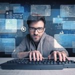 A_confident_young_hacker_working_hard_on_solving_online_password_codes_concept_with_a_computer_keyboard_and_illustrated_digital_screen,_numbers_in_the_background