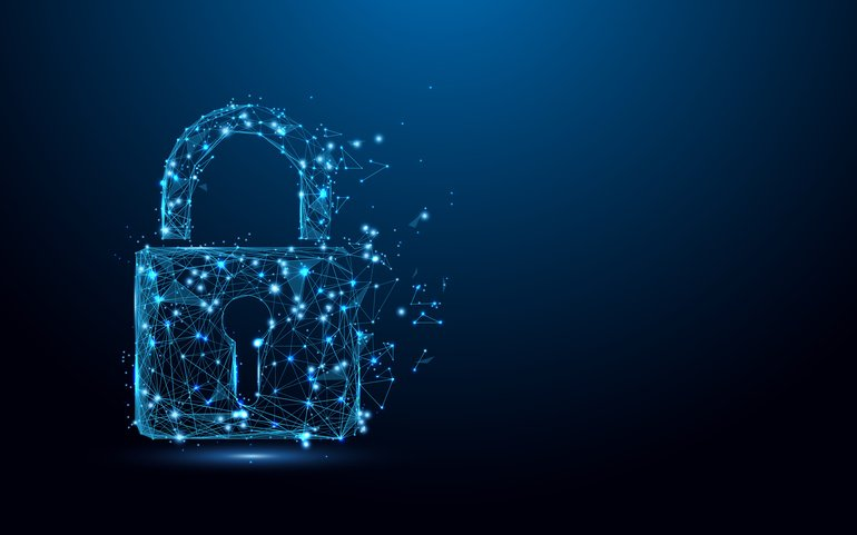 Cyber_security_concept._Lock_symbol_from_lines_and_triangles,_point_connecting_network_on_blue_background._Illustration_vector