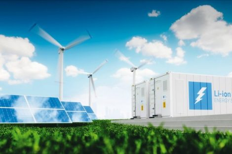 Concept_of_energy_storage_system._Renewable_energy_-_photovoltaics,_wind_turbines_and_Li-ion_battery_container_in_fresh_nature_with_distant_blurred_city_in_background._3d_rendering.
