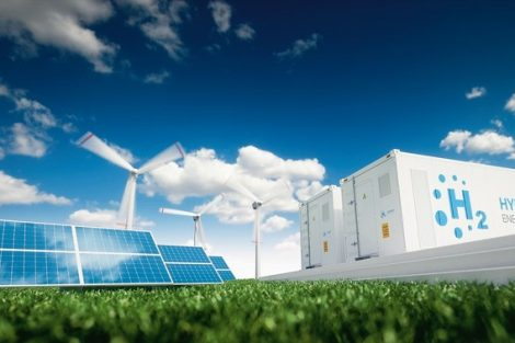 Ecology_energy_solution._Power_to_gas_concept._Hydrogen_energy_storage_with_renewable_energy_sources_-_photovoltaic_and_wind_turbine_power_plant_in_a_fresh_nature._3d_rendering.