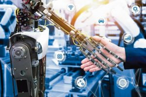 Cyber_communication_and_robotic_trend_and_artificial_intelligence_concepts._Industrial_4.0_Cyber_Physical_Systems_concept._Robot_and_Engineerer_human_holding_hand_with_handshake_and_graphic.