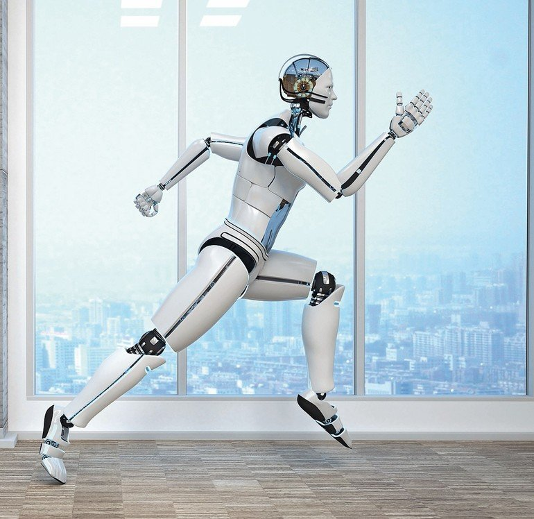 A_running_robot_in_the_business_room._3d_illustration.