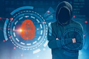 Man_in_hoodie_with_no_face_standing_crossed_arms_over_fingerprint_id_hud_background._Immersive_interface_with_glowing_zeros_and_ones._Online_security_Toned_image_double_exposure