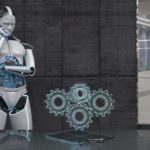 Humanoid_robot_is_working_on_a_gearbox_development._3d_illustration.