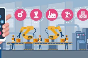 Smart_industry_4.0_infographic._Man_connecting_with_a_factory_using_smartphone_and_exchanging_data_with_a_neural_network._Artificial_intelligence._Vector_illustration.