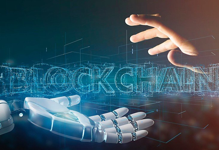 View_of_a_Cyborg_hand_holding_a_Blockchain_title_3d_rendering