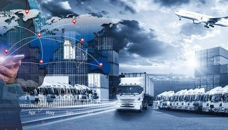World_map_with_logistic_network_distribution,_Logistic_and_transport_concept_in_front_Industrial_Container_Cargo_freight_ship_for_Concept_of_fast_or_instant_shipping,_Online_goods_orders_worldwide