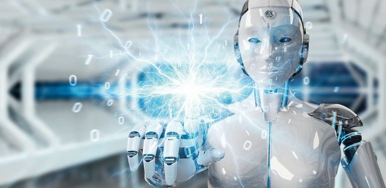 White_humanoid_robot_on_blurred_background_creating_renewable_and_sustainable_eco_energy_3D_rendering
