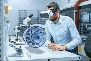 Factory_Chief_Engineer_Wearing_VR_Headset_Designs_Engine_Turbine_on_the_Holographic_Projection_Table.__Futuristic_Design_of_Virtual_Mixed_Reality_Application.