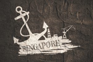 Anchor,_lighthouse,_ship_and_crane_icons_on_brush_stroke._Calligraphy_inscription._Singapore_city_name_text