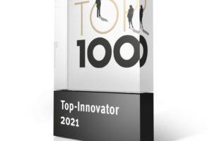 Die Top-100-Trophäe für die innovativsten Mittelständler im Jahr 2021. Bild: compamedia