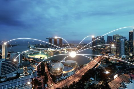 Network_business_conection_system_on_Singapore_smart_city_scape_in_background.Network_business_conection_concept_