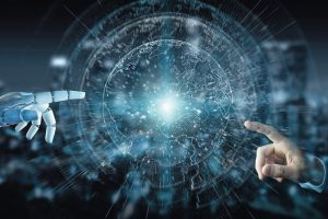 White_cyborg_hand_on_blurred_background_using_planet_Earth_interface_3D_rendering