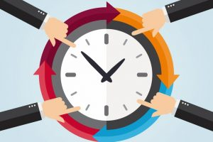 Hands_pointing_to_a_clock._Organize_time_concept._Vector_illustration