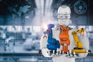 3d_rendering_cyborg_holding_three_robot_arms