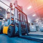 Forklift_loader._Pallet_stacker_truck_equipment_at_warehouse._Background