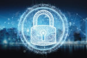 Digital_security_hologram_with_padlock_on_blue_city_background_3D_rendering
