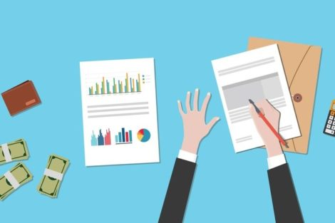 restructuring_illustration_concept_with_business_man_working_on_paperwork_document_graph_chart_cash_money_on_top_of_the_table_vector